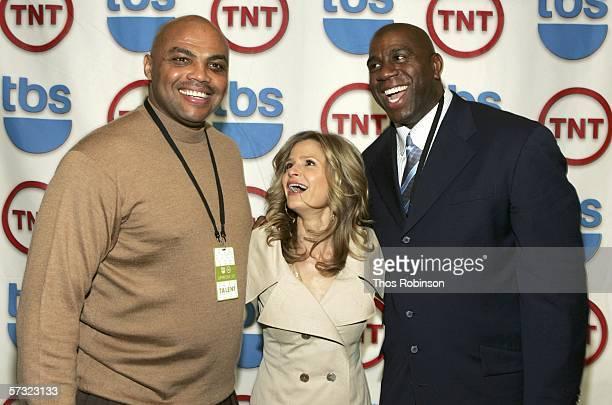 TNT NBA analyst and former NBA player Charles Barkley actress Kyra Sedgwick and former NBA star Magic Johnson attend Turner Enterprise Upfront...