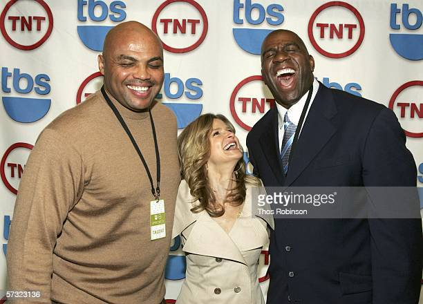 TNT NBA analyst and former NBA player Charles Barkley actress Kyra Sedgwick and former NBA star Magic Johnson attend 2006/2007 TNT And TBS UpFront...