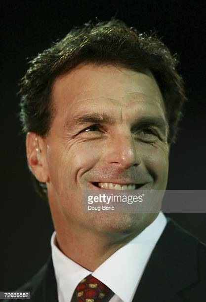 Analyst and former quarterback Doug Flutie for the Boston College Golden Eagles stands in the end-zone near the spot of the famous 'Hail Flutie'...