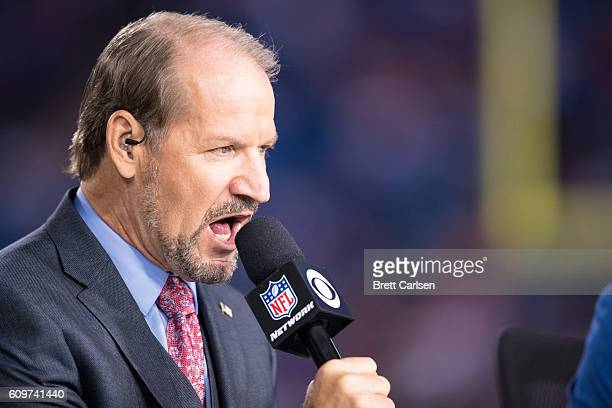 CBS analyst Bill Cowher speaks before the game between Buffalo Bills and New York Jets at New Era Field on September 15 2016 in Orchard Park New York
