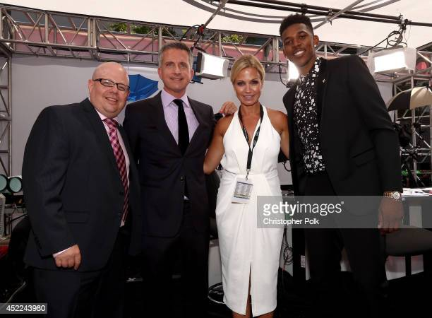 NBA analyst Bill Simmons TV personality Michelle Beadle and NBA player Nick Young attend The 2014 ESPY Awards at Nokia Theatre LA Live on July 16...