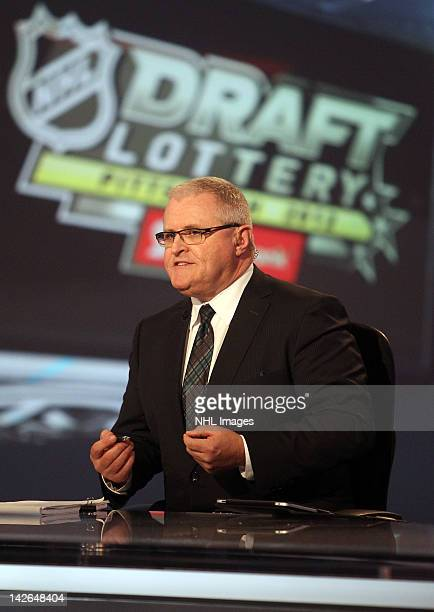 TSN analyst Bob McKenzie during coverage of the NHL Draft Lottery on April 10 2012 at the TSN Studios in Toronto Ontario Canada