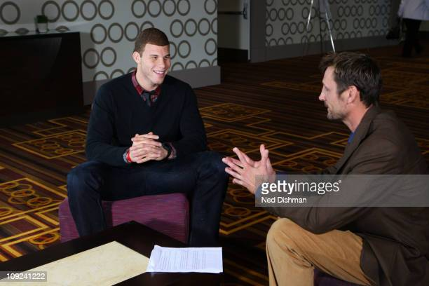 Analyst Brent Barry interviews Blake Griffin of the Los Angeles Clippers during the 2011 NBA Circuit as part of the 2011 NBA AllStar Weekend on...