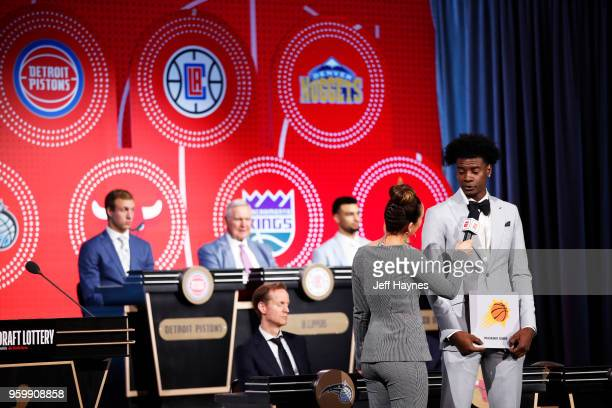 Analyst Cassidy Hubbarth interviews Josh Jackson of the Phoenix Suns after the Phoenix Suns get the number one pick in the 2018 NBA Draft during the...