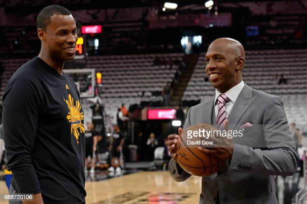 Analyst Chauncey Billups and Jarron Collins of the Golden State Warriors talk Game Four of the Western Conference Finals against the San Antonio...