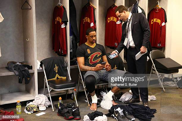 Analyst Chris Broussard interviews Channing Frye of the Cleveland Cavaliers after Game Five of the 2016 NBA Finals against the Golden State Warriors...