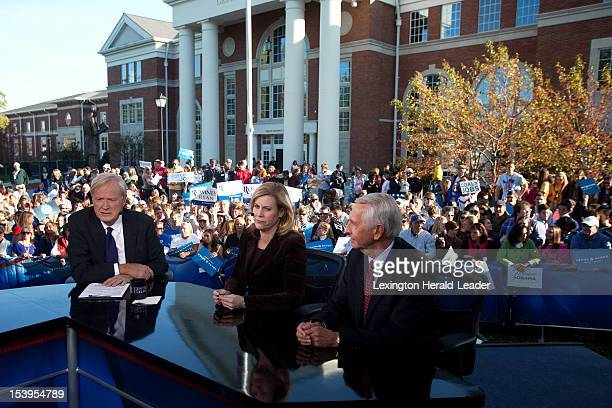 MSNBC analyst Chris Matthews left political consultant Stephanie Cutter and Kentucky Governor Steve Beshear prepare for an interview after a...
