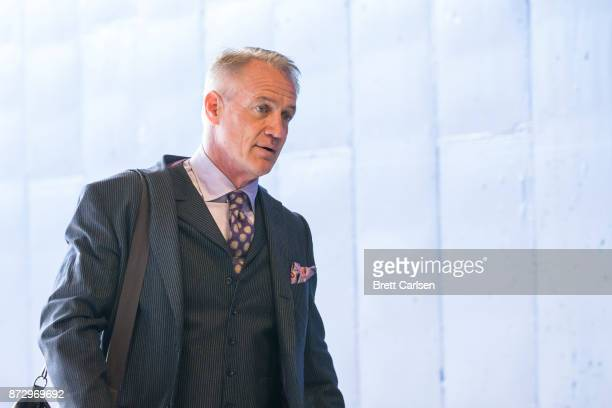 NFL analyst Daryl Johnston enters the stadium before the game between the Buffalo Bills and the Tampa Bay Buccaneers at New Era Field on October 22...