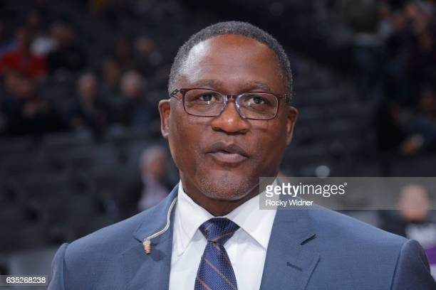 TV analyst Dominique Wilkins looks on during the game between the Atlanta Hawks and Sacramento Kings on February 10 2017 at Golden 1 Center in...