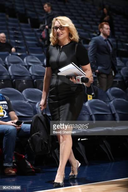 Analyst Doris Burke walks on the court before the Oklahoma City Thunder game against the Minnesota Timberwolves on January 10 2018 at Target Center...