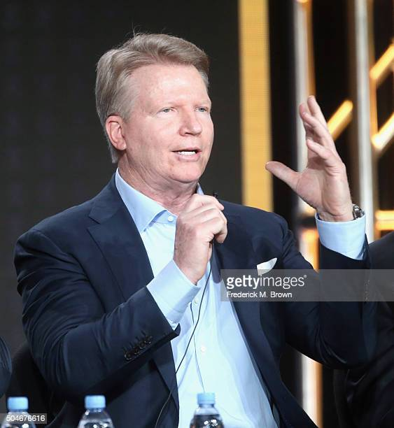 Analyst for Super Bowl 50 Phil Simms speaks onstage during the 'CBS Sports' panel discussion at the CBS/ShowtimeTelevision Group portion of the 2015...