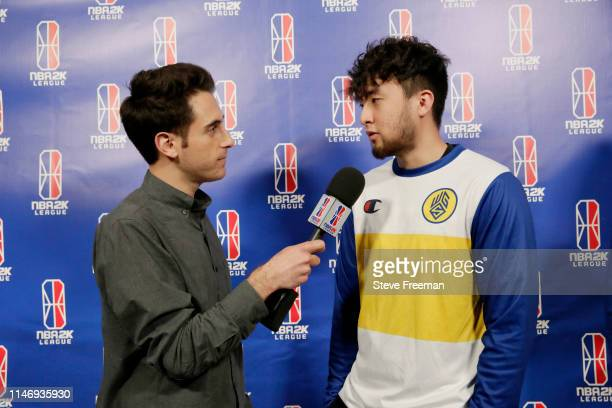 NBA 2K analyst Jeff Eisenband interviews Jin of the Warriors Gaming Squad following the match against Pacers Gaming during Week 7 of the NBA 2K...