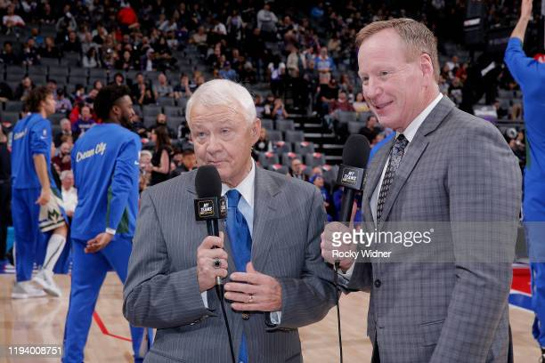TV analyst Jerry Reynolds and Announcer Grant Napear look on during the game between the Milwaukee Bucks and Sacramento Kings on January 10 2020 at...