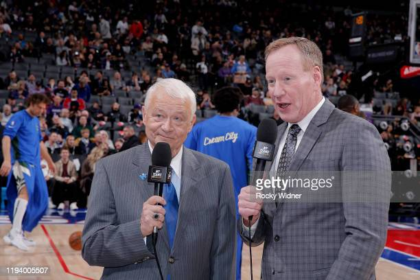 TV analyst Jerry Reynolds and Announcer Grant Napear look on prior to the game betweeen the Milwaukee Bucks and Sacramento Kings on January 10 2020...