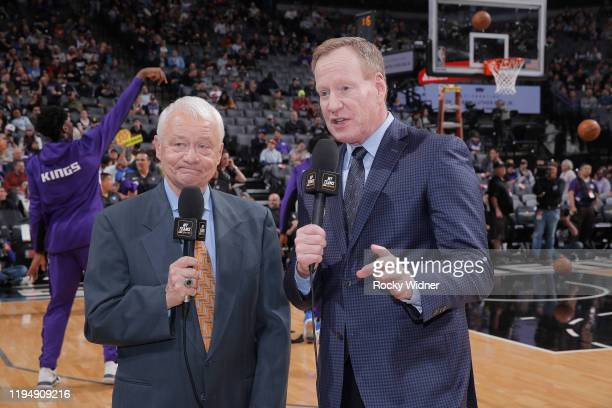 TV analyst Jerry Reynolds and Announcer Grant Napear look on prior to the game between the Dallas Mavericks and Sacramento Kings on January 15 2020...