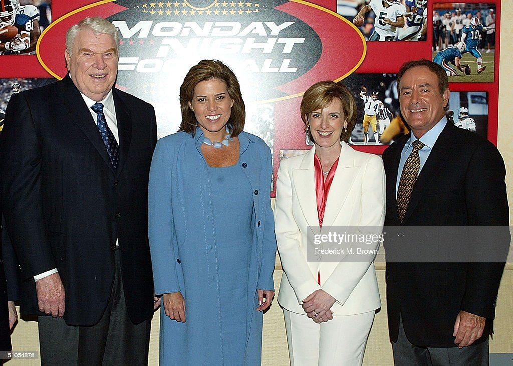 NFL Analyst John Madden, sideline reporter Michele Tafoya, President of Disney-ABC television Anne Sweeney and 'Monday Night Football' play-by-play analyst Al Michaels meet the press at the ABC Summer TCA Press Tour - Day 1 at the Century Plaza Hotel on June 12, 2004 in Los Angeles, California.