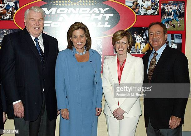 """Analyst John Madden, sideline reporter Michele Tafoya, President of Disney-ABC television Anne Sweeney and """"Monday Night Football"""" play-by-play..."""