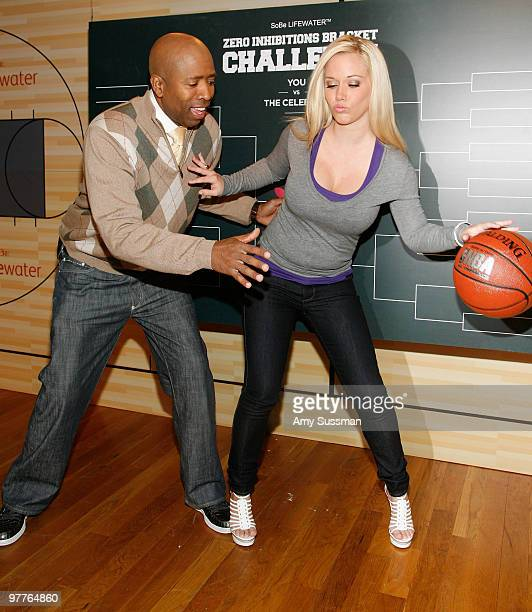 NBA analyst Kenny Smith and reality star Kendra Wilkinson attend the SoBe Lifewater Zero Inhibitions Brackets Challenge kick off at C and C Studio on...