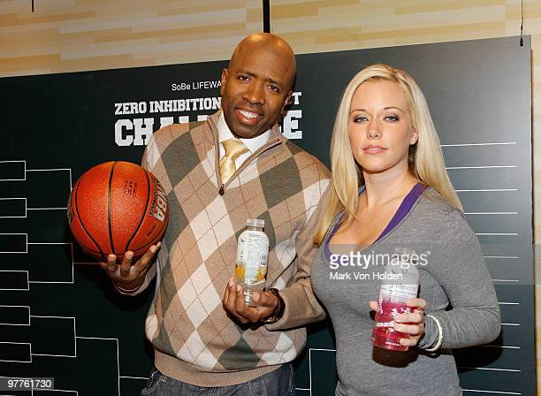 NBA analyst Kenny Smith and TV personality Kendra Wilkinson attend the SoBe Lifewater Zero Inhibitions Brackets Challenge kick off at C and C Studio...
