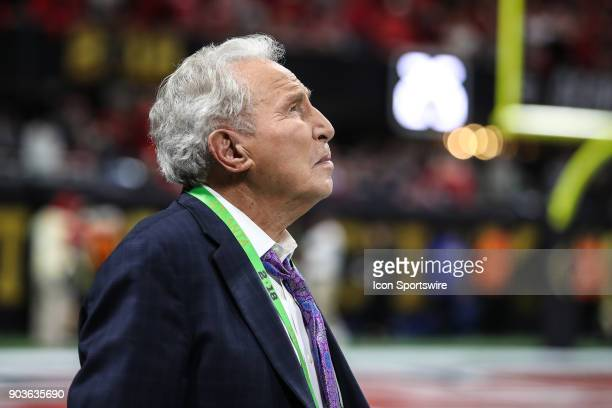 ESPN analyst Lee Corso looks on during the College Football Playoff National Championship Game between the Alabama Crimson Tide and the Georgia...