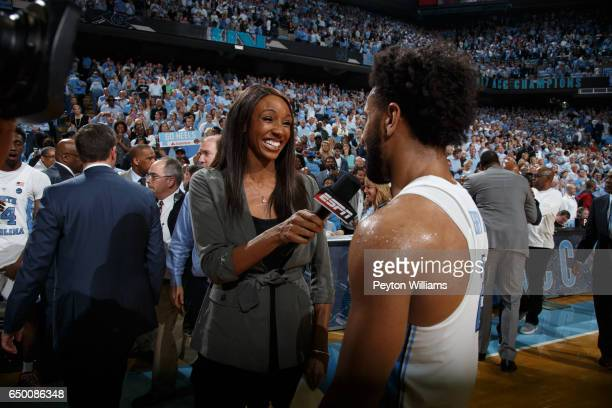 ESPN analyst Maria Taylor interviews Joel Berry II of the North Carolina Tar Heels after a game against the Duke Blue Devils on March 04 2017 at the...