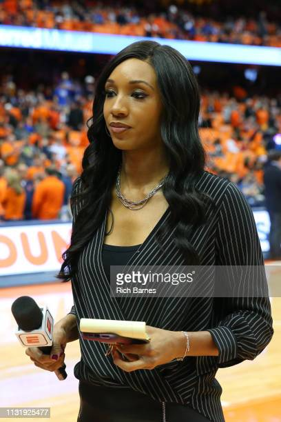 ESPN analyst Maria Taylor prior to the game between the Duke Blue Devils and the Syracuse Orange at the Carrier Dome on February 23 2019 in Syracuse...