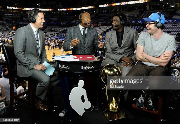 TV analyst Matt Winer Kenny Smith Chris Webber interview Bill Hader of Saturday Night Live prior to Game Two of the 2012 NBA Finals between the Miami...