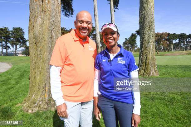 Analyst Michael Wilbon and 66th US Secretary of State Condoleezza Rice pose for a photo during the 2019 Stephen Curry Charity Classic presented by...