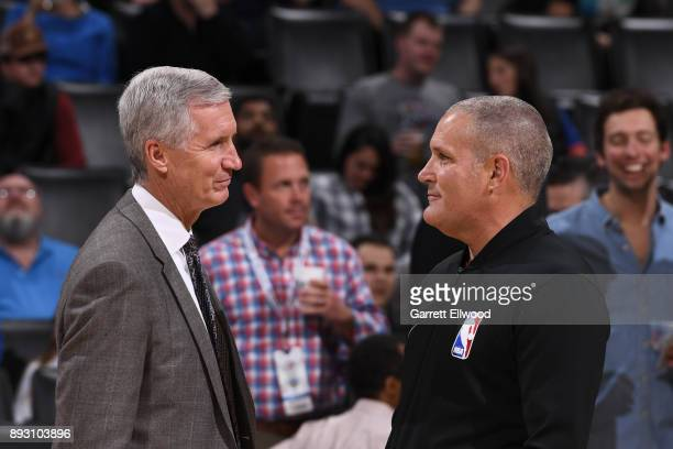 Analyst Mike Breen talks with Referee Monty McCutchen before the Golden State Warriors game against the Oklahoma City Thunder during the game at the...