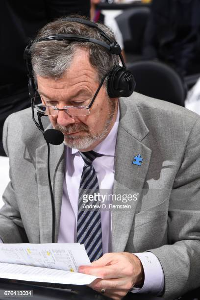Analyst PJ Carlesimo reads his notes during Game Seven of the Western Conference Quarterfinals between the Utah Jazz and the LA Clippers during the...