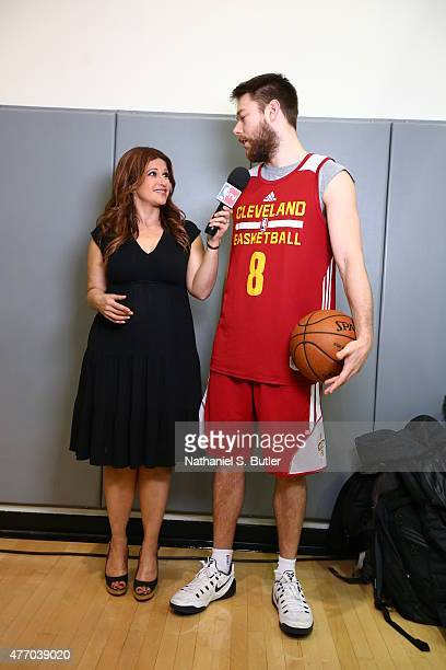 TV analyst Rachel Nichols interviews Matthew Dellavedova of the Cleveland Cavaliers during practice and media availability as part of the 2015 NBA...