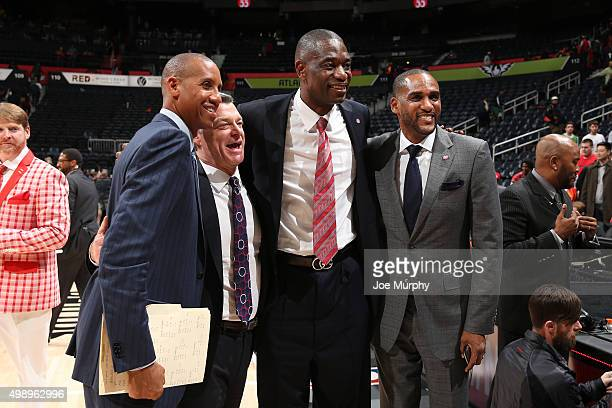 Analyst Reggie Miller Atlanta Hawks owner Tony Ressler Dikembe Mutombo and Atlanta Hawks former player Steve Smith honor fellow former player by...