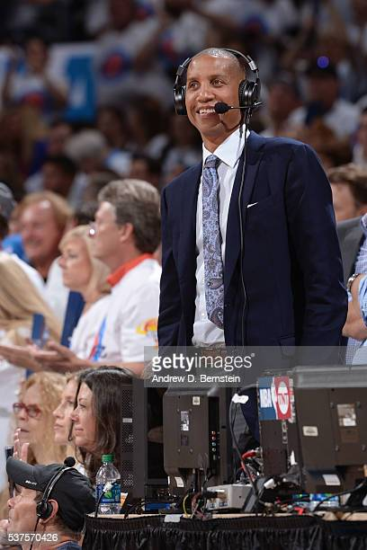 Analyst Reggie Miller smiles as he announces Game Four of the Western Conference Finals between the Golden State Warriors and the Oklahoma City...