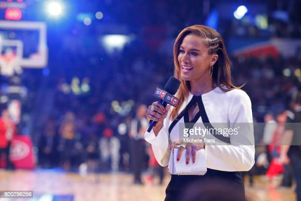 Analyst Rosalyn GoldOnwude talks on court during the NBA AllStar Game as a part of 2018 NBA AllStar Weekend at STAPLES Center on February 18 2018 in...