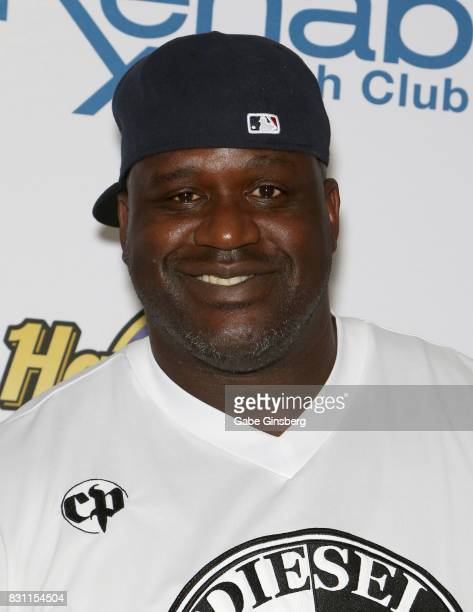 NBA analyst Shaquille O'Neal aka DJ Diesel arrives at the Rehab Beach Club pool party at the Hard Rock Hotel Casino on August 13 2017 in Las Vegas...
