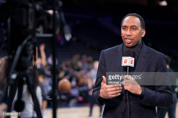 Analyst Stephen A. Smith talks prior to the game between the Dallas Mavericks and Philadelphia 76ers at the Wells Fargo Center on December 20, 2019...