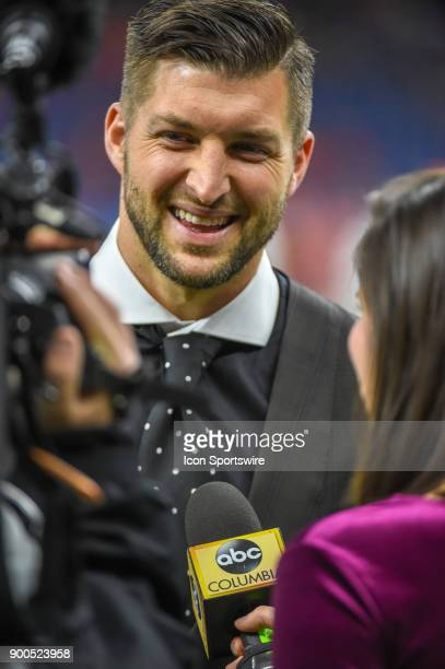 ESPN analyst Tim Tebow is interviewed by ABC Columbia before the College Football Playoff Semifinal at the Allstate Sugar Bowl between the Alabama...