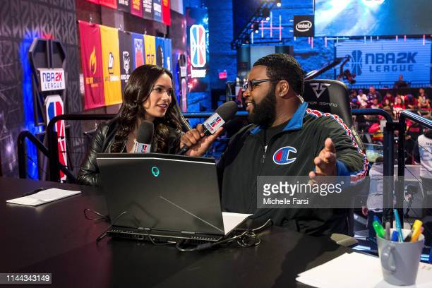 NBA 2K analysts Alex Giaimo and Phil Visu commentate during Week 5 of the NBA 2K League regular season on May 17 2019 at the NBA 2K Studio in Long...