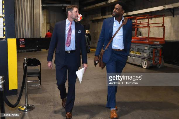 Analysts Brent Barry and Chris Webber arrive at the arena before the Oklahoma City Thunder game against the LA Clippers on January 4 2018 at STAPLES...