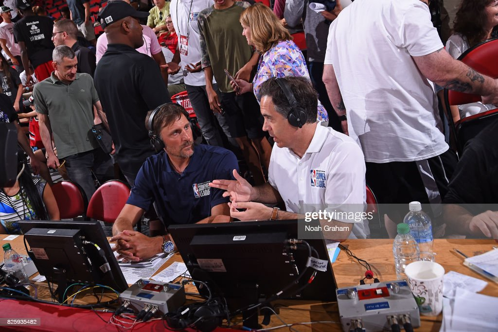Analysts, Brent Barry and Matt Winer call the 2017 Las Vegas Summer League game between the Washington Wizards and the Chicago Bulls on July 11, 2017 at Cox Pavillion in Las Vegas, Nevada.