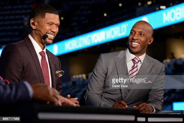 Analysts Chauncey Billups and Jalen Rose tape a segment before Game Four of the Western Conference Finals between the Golden State Warriors and the...