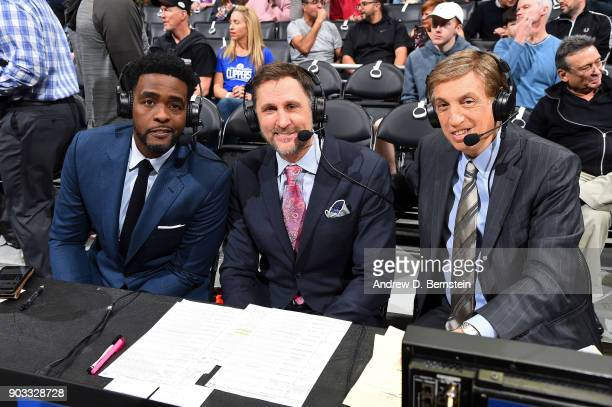 Analysts Chris Webber Brent Barry and Marv Albert pose for a photo before the Oklahoma City Thunder game against the LA Clippers on January 4 2018 at...