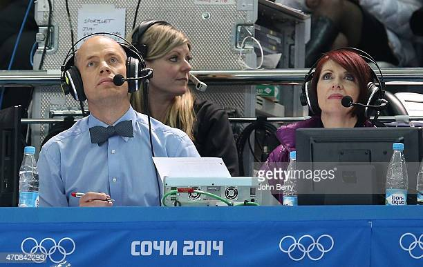 TV analysts Kurt Browning and Carole Lane for CBC comment the Figure Skating Ladies' Free Skating on day 13 of the Sochi 2014 Winter Olympics at...
