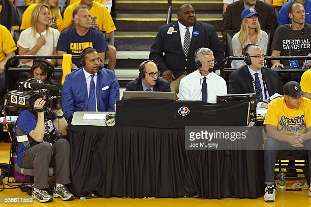 Analysts Mark Jackson Jeff Van Gundy and Mike Breen announce Game Two of the 2016 NBA Finals between the Cleveland Cavaliers and Golden State...
