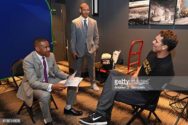 Analysts Mark Jones and JA Adande interview Luke Walton of the Los Angeles Lakers before the game against the Houston Rockets on October 26 2016 at...