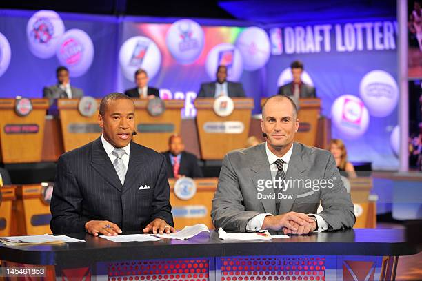 Analysts Mark Jones and Jay Bilas during the 2012 NBA Draft Lottery on May 30 2012 at ABC News 'Good Morning America' Times Square Studios in New...