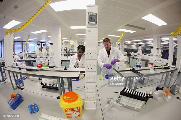 Analysts Myriam Kabu and Damon Maheux work in the antidoping laboratory which will test athlete's samples from the London 2012 Games on January 19...