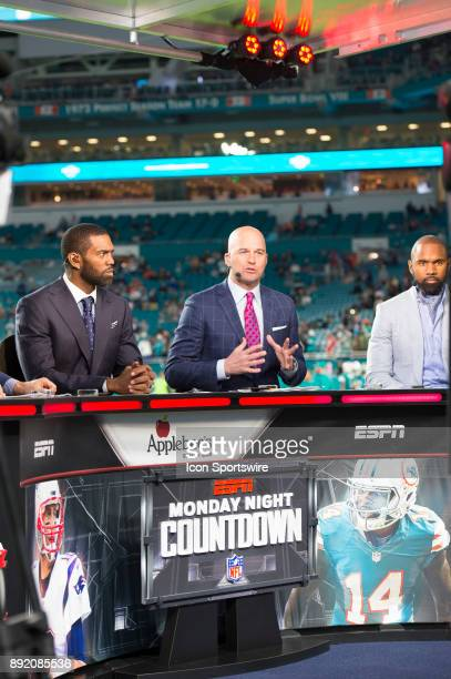Analysts Randy Moss Matt Hasselbeck and Charles Woodson during ESPN Monday Night Football Countdown TV show on the field before the start of the NFL...