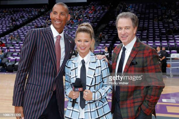 Analysts Reggie Miller Allie LaForce and Kevin Harlan pose for a photo wearing their jakcets to memorialize Craig Sager after the LA Clippers game...