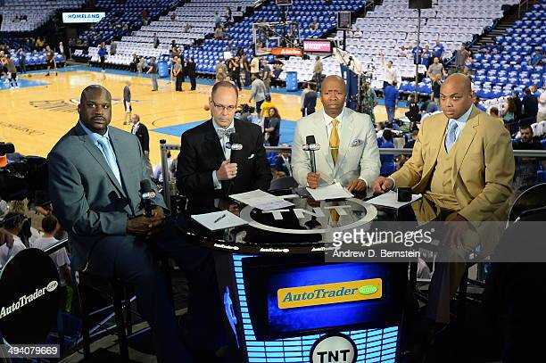 Analysts Shaquille O'Neal Ernie Johnson Kenny Smith and Charles Barkley before Game Four of the Western Conference Finals between the Oklahoma City...